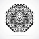Vektor-schwarze Geometrie-Mandala über Weiß Stockfoto