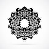 Vektor-schwarze Geometrie-Mandala über Weiß Stockfotos