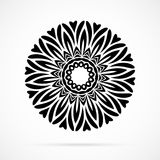 Vektor-schwarze Geometrie-Mandala über Weiß Stockbilder