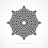 Vektor-schwarze Geometrie-Mandala über Weiß Lizenzfreies Stockfoto