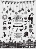 Vektor-schwarze Handskizzierte Weihnachtsgekritzel-Ikonen Stockfotos