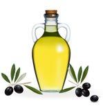 Vektor. Schwarze Oliven mit Flasche von O Stockfotografie