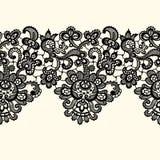 Vektor-schwarzer Spitzensaum Nahtloses Muster Stockfoto