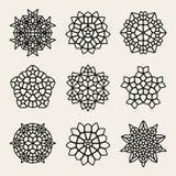 Vektor Schwarzweiss--Mandala Lace Ornaments Collection Stockfoto