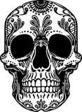Vektor-Schwarzweiss-Tätowierungs-mexikanische Schädel-Illustration lizenzfreie abbildung