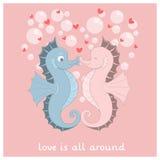 Vektor Seahorses mit Herzen Stockbilder