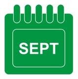 Vektor september på månatlig kalendergräsplansymbol royaltyfri illustrationer