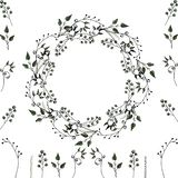 Vektor set: floral frame and  floral elements for decoration of greeting cards, wedding invitations and other stock illustration