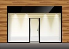 Vektor-Shop-Butiken-Speicher-Front mit großem Fenster stock abbildung