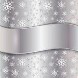 Vektor-silberne Platte mit Schneeflocken lizenzfreie abbildung