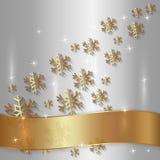 Vektor-silberne Platte mit Schneeflocken und golden vektor abbildung