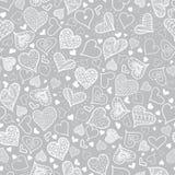 Vektor-silbernes Grey Doodle Hearts Seamless Pattern-Design perfekt für Tageskarten des Valentinsgruß-s, Gewebe, scrapbooking Lizenzfreie Stockbilder