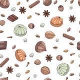 vektor Skissa teckningar Sömlös modell med marshmallower, choklad och örter Kanel stjärnaanis, valnöt, hasselnöt, mandlar royaltyfri illustrationer