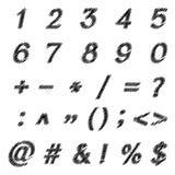 Vektor skissade svarta nummer och symboler Royaltyfria Foton