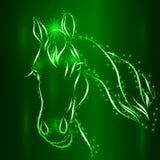 Vektor-Skizze des Pferdegesichtes mit Schneeflocken stock abbildung
