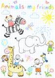 Vektor skizziert der glücklichen Kinder und die Tiere Lizenzfreie Stockbilder