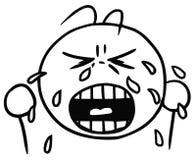 Vektor Smiley Cartoon av gråtframsidan; Revor och skrik royaltyfri illustrationer