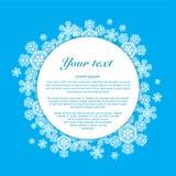 vektor Snöflingor på en blå bakgrund med stället Royaltyfri Fotografi