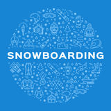 Vektor-Snowboarding-Ikone, Snowboard-Winterkollektion Sportlinie Kunst infographics Lizenzfreie Stockfotos