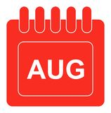 Vektor som är august på röd symbol för månatlig kalender royaltyfri illustrationer
