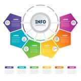 Vektor som är infographic av teknologi- eller utbildningsprocess Del av t Arkivbild