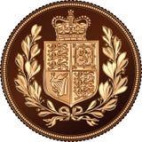 Vektor som är omvänd av det guld- suveräna myntet, brittiska pengar Arkivfoton