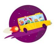 Vektor som är plan tillbaka till skolaillustrationen med stort gult skolbussflyg som raket på mörker - isolerad blå himmel vektor illustrationer
