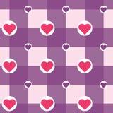 Vektor som är rutig med hjärtor i cirkelmodell stock illustrationer