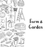 Vektor som arbeta i trädgården klottersymbolsbakgrund med stället för textillustration stock illustrationer