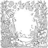 Vektor som färgar den tryckbara sidan för barn och vuxen människa Gullig havsvarelse på en marin- bakgrund undervattens- livstid royaltyfri illustrationer