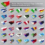 Vektor som flyttar nationella flaggor av den isolerade världen Royaltyfria Foton