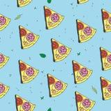 Vektor som lagar mat den sömlösa modellen med pizza Planlägg en meny Menyte Royaltyfri Foto