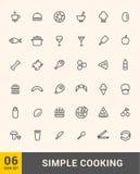 Vektor som lagar mat den tunna symbolsdesignuppsättningen Royaltyfria Foton
