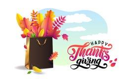 Vektor som märker lycklig tacksägelse för handskriven text Ljus bukett av stupade sidor för höst i guld- gåvashoppingpåse royaltyfri illustrationer