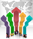 Vektor som rutten går till framgången av världsaffärsmannen Arkivbild