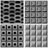 Vektor som ställs in med seamless modeller för metall Fotografering för Bildbyråer