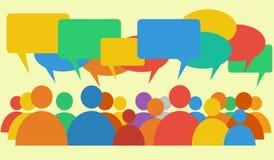 Vektor som visar diskussion & dialog med avvikande punkter av sikten royaltyfri illustrationer