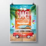 Vektor-Sommer-Strandfest-Flieger-Design mit Reisepackwagen und Brandungsbrett stock abbildung