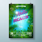Vektor-Sommer-Strandfest-Flieger-Design mit typografischem Design auf Naturhintergrund mit Palmblättern Lizenzfreies Stockfoto