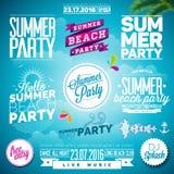 Vektor-Sommer-Strandfest-Typografie-Illustrationssatz vektor abbildung