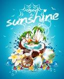 Vektor-Sommerferien-Flieger-Design mit Kokosnuss und Paradies-Insel. Lizenzfreies Stockfoto
