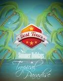 Vektor-Sommerferien-Flieger-Entwurf mit Palmen. Lizenzfreie Stockbilder