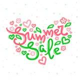 Vektor-Sommerschlussverkaufdesign mit Beschriftung in den weichen Farben Stockfoto
