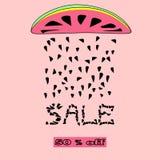 Vektor-Sommerschlussverkaufhintergrund mit Wassermelonenscheibe stockfotografie