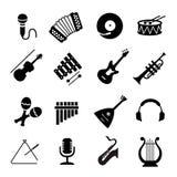 Vektor sorterade svarta musikinstrumentsymboler royaltyfri illustrationer