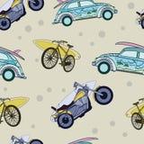 Vektor-Spaß-Surfbretter auf Transport-Auto-Fahrrädern Stockbilder