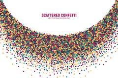 Vektor spridd brokig konfettivitbakgrund royaltyfri illustrationer
