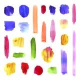 Vektor-spritzt bunte Aquarell-Bürsten-Anschlag-Sammlung, realistische Farben-Beschaffenheit, und punktiert, künstlerische Handgez stock abbildung