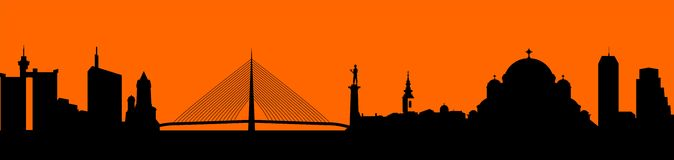 Vektor - Stadtskyline-Schattenbildillustration Lizenzfreie Stockfotos