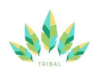 Vektor-Stammes- Federn Logo Illustration - 2017 modische Farben Lizenzfreies Stockfoto